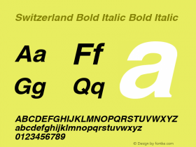 Switzerland Bold Italic Bold Italic v1.00 Font Sample