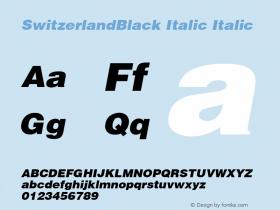 SwitzerlandBlack Italic Italic v1.0c Font Sample