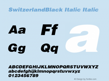SwitzerlandBlack Italic Italic v1.0c Font Sample