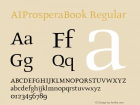 AIProsperaBook Regular Altsys Fontographer 4.0.4 94/03/10 Font Sample