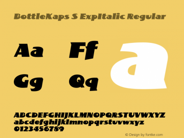 BottleKaps S ExpItalic Regular Altsys Fontographer 4.1 10.3.1995 Font Sample