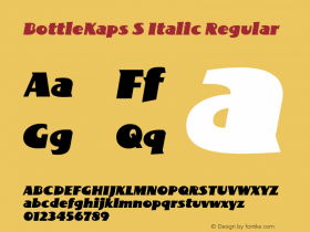 BottleKaps S Italic Regular Altsys Fontographer 4.1 10.3.1995 Font Sample