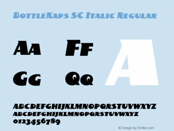 BottleKaps SC Italic Regular Altsys Fontographer 4.1 10.3.1995 Font Sample