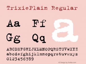 TrixiePlain Regular Macromedia Fontographer 4.1 3/10/00 Font Sample