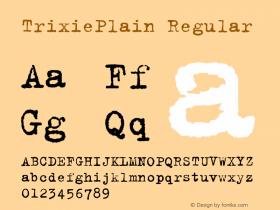 TrixiePlain Regular Macromedia Fontographer 4.1.5 10/5/98 Font Sample