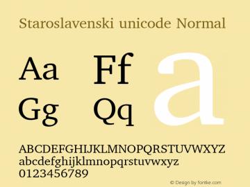 Staroslavenski unicode Normal Unicode Font Sample