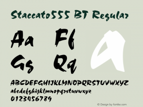 Staccato555 BT Regular mfgpctt-v4.4 Dec 7 1998 Font Sample