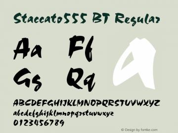 Staccato555 BT Regular mfgpctt-v4.4 Dec 7 1998 Font Sample