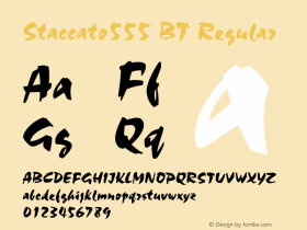 Staccato555 BT Regular Version 2.001 mfgpctt 4.4 Font Sample