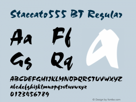 Staccato555 BT Regular Version 1.01 emb4-OT Font Sample