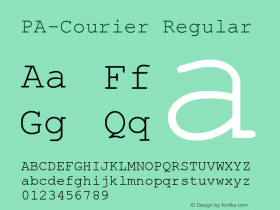 PA-Courier Regular Version 2.01 Font Sample