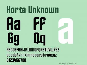 Horta Unknown Version 0.1 Font Sample