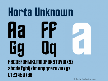 Horta Unknown Version 0.4 Font Sample