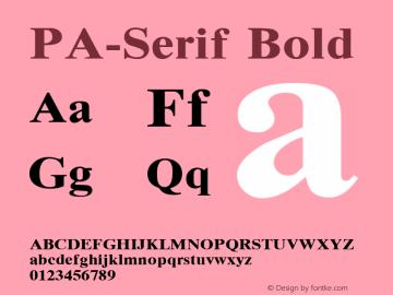 PA-Serif Bold Version 2.0 - September 1993 Font Sample