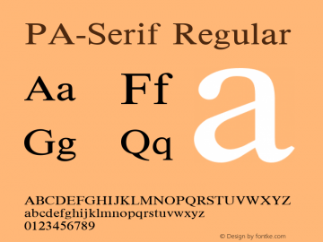 PA-Serif Regular Version 2.0 - September 1993 Font Sample