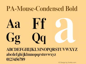 PA-Mouse-Condensed Bold Version 2.0 - September 1993 Font Sample