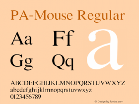 PA-Mouse Regular Version 2.0 - September 1993 Font Sample