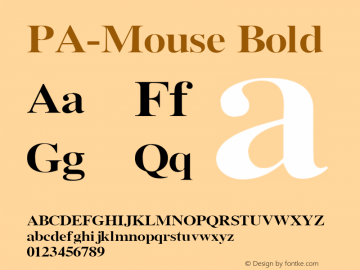 PA-Mouse Bold Version 2.0 - September 1993 Font Sample
