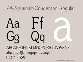 PA-Souvenir-Condensed Regular Version 2.0 - September 1993 Font Sample