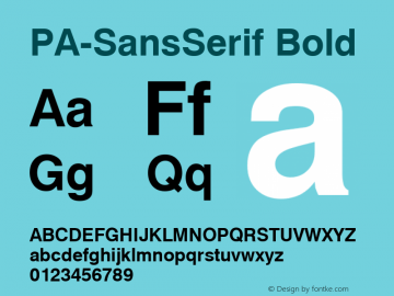 PA-SansSerif Bold Version 2.0 - September 1993 Font Sample