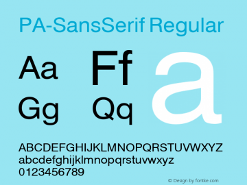 PA-SansSerif Regular Version 2.0 - September 1993 Font Sample