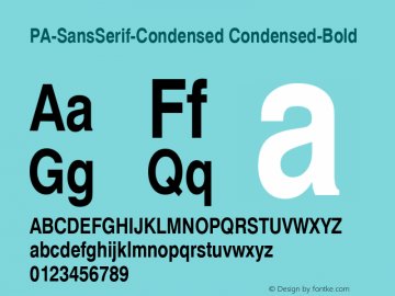 PA-SansSerif-Condensed Condensed-Bold Version 2.0 - September 1993 Font Sample