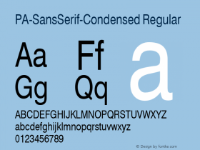 PA-SansSerif-Condensed Regular Version 2.0 - September 1993 Font Sample