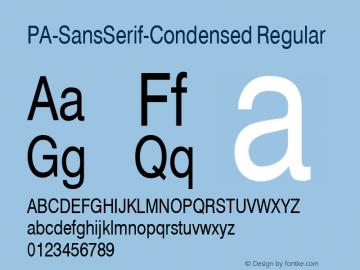 PA-SansSerif-Condensed Regular Version 2.0 - September 1993 Font Sample