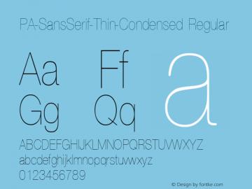 PA-SansSerif-Thin-Condensed Regular Version 2.0 - September 1993 Font Sample