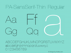 PA-SansSerif-Thin Regular Version 2.0 - September 1993 Font Sample