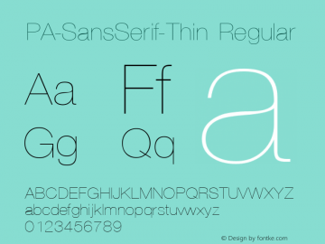 PA-SansSerif-Thin Regular Version 2.0 - September 1993 Font Sample