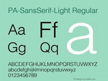 PA-SansSerif-Light Regular Version 2.0 - September 1993 Font Sample