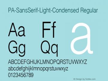 PA-SansSerif-Light-Condensed Regular Version 2.0 - September 1993 Font Sample
