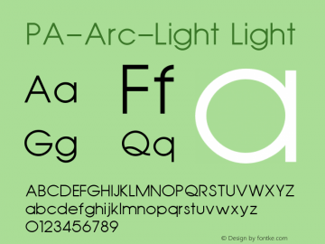 PA-Arc-Light Light Version 2.0 - September 1993 Font Sample