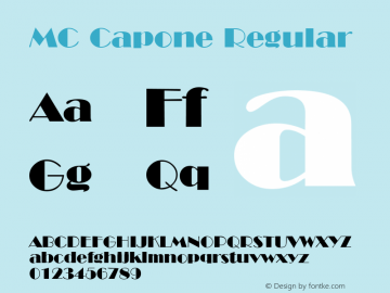 MC Capone Regular MC 1.0 Font Sample