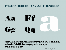 Poster Bodoni CG ATT Regular 1.0 Font Sample