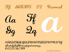 FZ SCRIPT 22 Normal 1.000 Font Sample