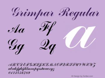 Grimpar Regular Altsys Metamorphosis:4/16/92 Font Sample