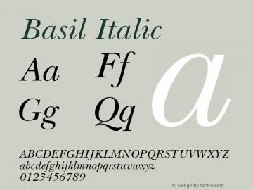 Basil Italic April 6, 1992; 1.00 Font Sample