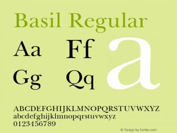 Basil Regular April 6, 1992; 1.00 Font Sample