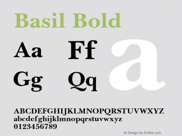 Basil Bold April 6, 1992; 1.00 Font Sample