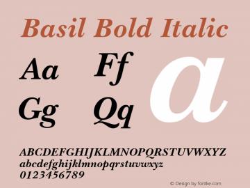 Basil Bold Italic April 6, 1992; 1.00 Font Sample