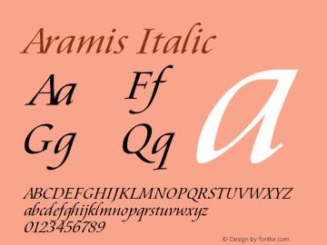 Aramis Italic Version 1.03 Font Sample