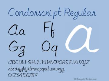 Condorscript Regular Converted from C:\TTFONTS\Condo.TF1 by ALLTYPE Font Sample
