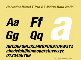 HelveticaNeueLT Pro 67 MdCn Bold Italic Version 1.000;PS 001.000;Core 1.0.38图片样张