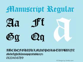 Manuscript Regular Rev. 002.02q Font Sample