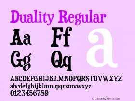 Duality Regular Version 5.001 Font Sample