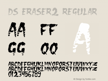 DS Eraser2 Regular Version 1.0; 2000; initial release Font Sample