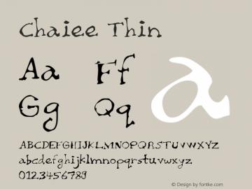 Chaiee Thin Version 2.00 Font Sample