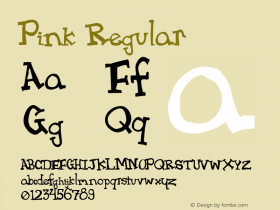 Pink Regular version 1.o --  1/15/98 Font Sample